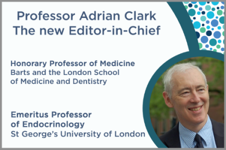 photograph of Endocrine Connections' new editor-in-chief, Professor Adrian Clark; Honorary Professor of Medicine, Barts and the London School of Medicine and Dentistry, Emeritus Professor of Endocrinology, St George's University of London, UK